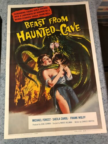 """Beast From Haunted Cave 1959 Original 1 Sheet Movie Poster 27""""x41"""" (VF+) Horror"""