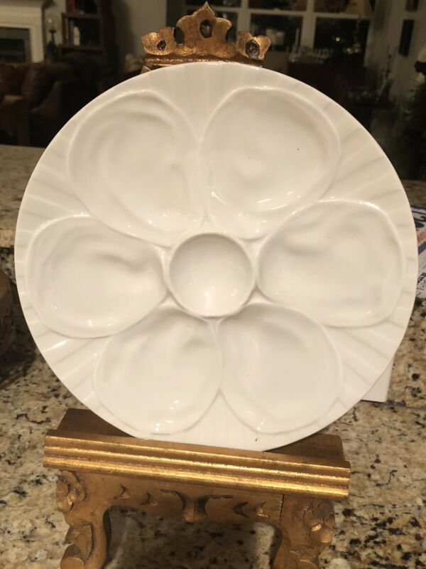 OYSTER PLATE Vintage Charles PILLIVUYT Co White Fine Porcelain France
