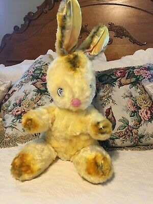 LARGE VINTAGE STUFFED EASTER BUNNY RABBIT WIRE EARS YELLOW FUR PINK NOSE WHISKER](Rabbit Whiskers)