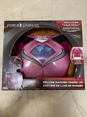 Power Rangers Deluxe Ranger Dress Up Shirt Costume Light Chest Armor Pink 4-7x ()