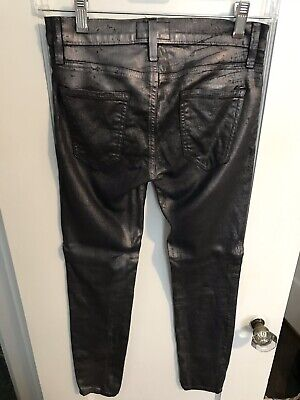 Current Elliott Grey Leather Skinny Jeans Gray  Size 24 RETAIL - Current Leather