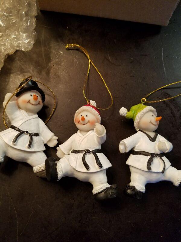 New set 3  Karate Martial Arts Snowmen Ornaments Martial Arts Karate  FREE SHIP