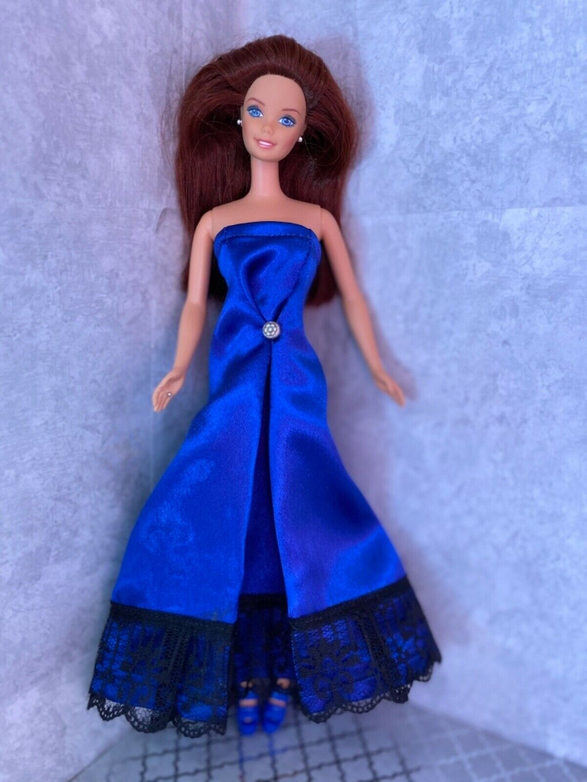 Homemade Barbie Clothes- Satin Prom Gown - Royal Blue - $8.25
