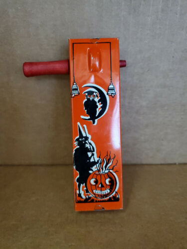 Vintage Kirchhof Halloween Noise Maker with Witch, Owl, and Pumpkin Cauldron