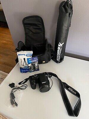 Nikon COOLPIX B500 16.0MP 40X Zoom Digital Camera - Black W/ Tripod Bag & Others