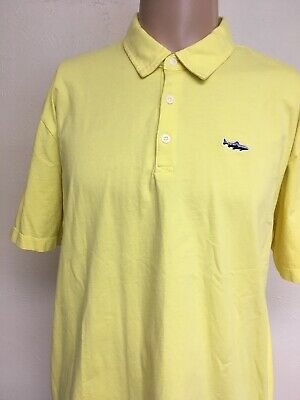 PATAGONIA ORGANIC COTTON JERSEY FITZ ROY TROUT POLO SHIRT Yellow EMBROIDERED XL