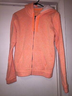 City Streets Zipper Hoodie- Juniors/Ladies- Fleece Sweatshirt- Neon Orange- Sz L Juniors Zipper Hoodie