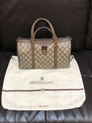 Authentic Gucci Vintage Ophidia Brown Logo Coated Canvas Speedy Tote w/Dust Bag