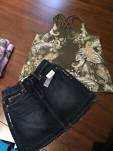Justice dressy tank and old navy NWT Jean skirt size 12