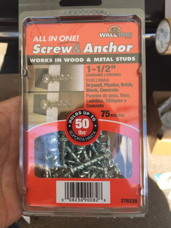 """Hillman Wall Dog 1-1/2"""" All in One Screw + Anchor (Up to 50 lbs) 75pcs Chrome"""