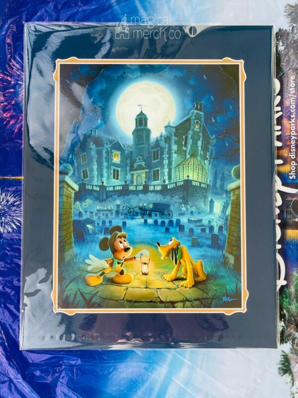 2021 Disney Parks Rob Kaz Mickey Haunted Mansion at Moonlight Art Print 14x18