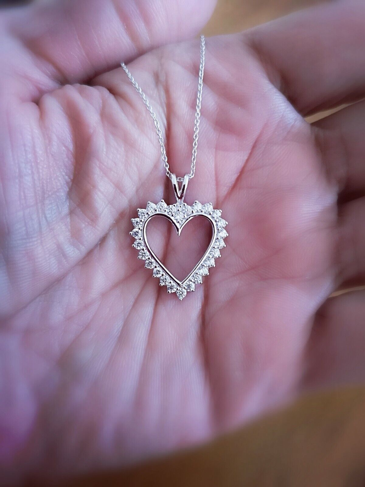 1.25 Ct Diamond Heart Pendant Womens Necklace 14K White Gold over with Chain 6