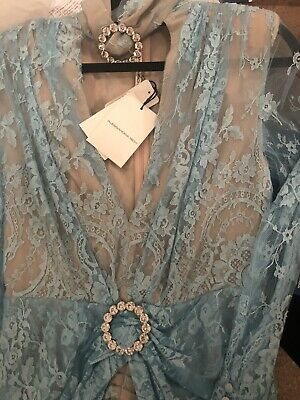 New Alessandra Rich Blue Lace Crystal Choker Long Dress Gown 40, USA 4 Rare!