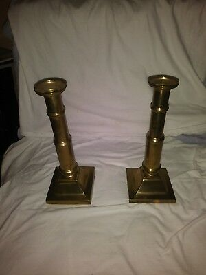 Vintage pair of solid brass candle sticks