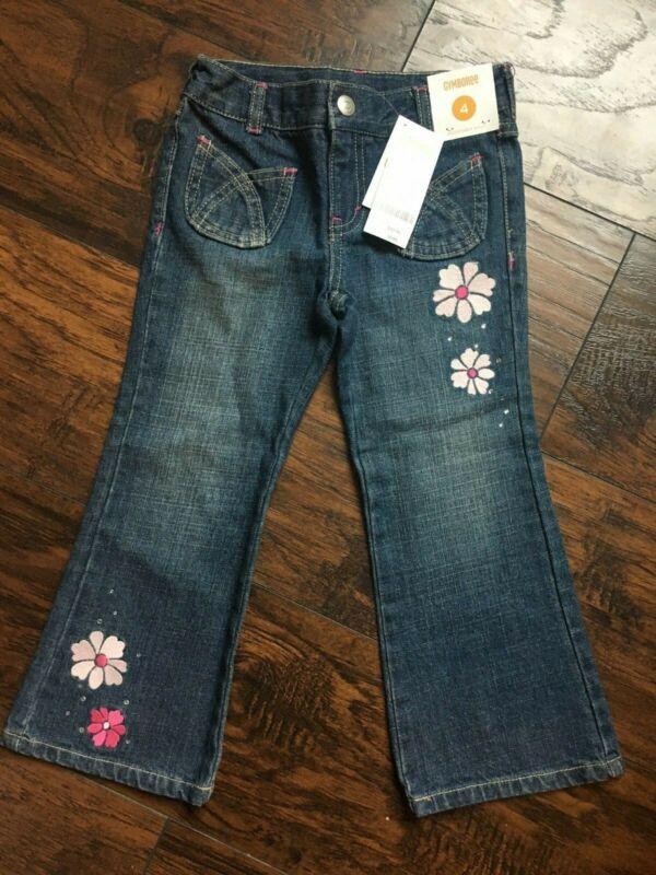 Gymboree NWT Girls Size 4 Glamour Ballerina Gem Flower Denim Jean Pants 2012