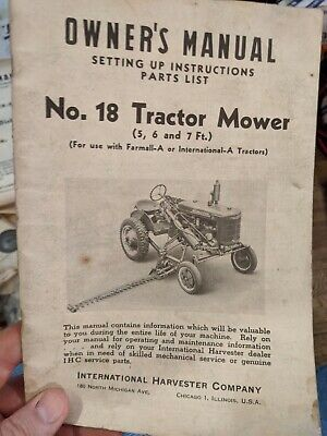 Ih Mccormick Farmall A No. 18 Sickle Bar Mower Manual