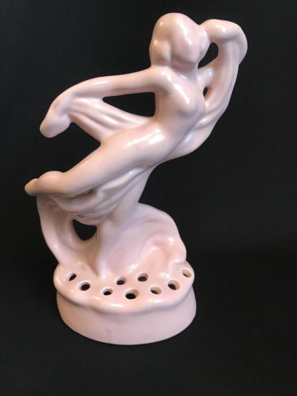 Vtg Camark Pottery Pink Lady Girl Dancing Scarf Figurine Flower Holder No Damage
