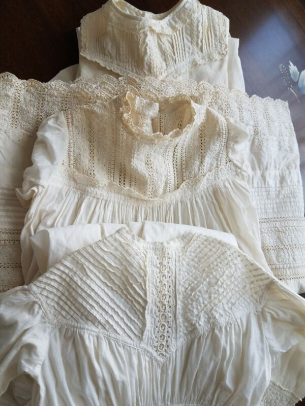 3 Antique Lace Christening Gown Baby Dress Doll Clothing Ayrshire Flounce Lot