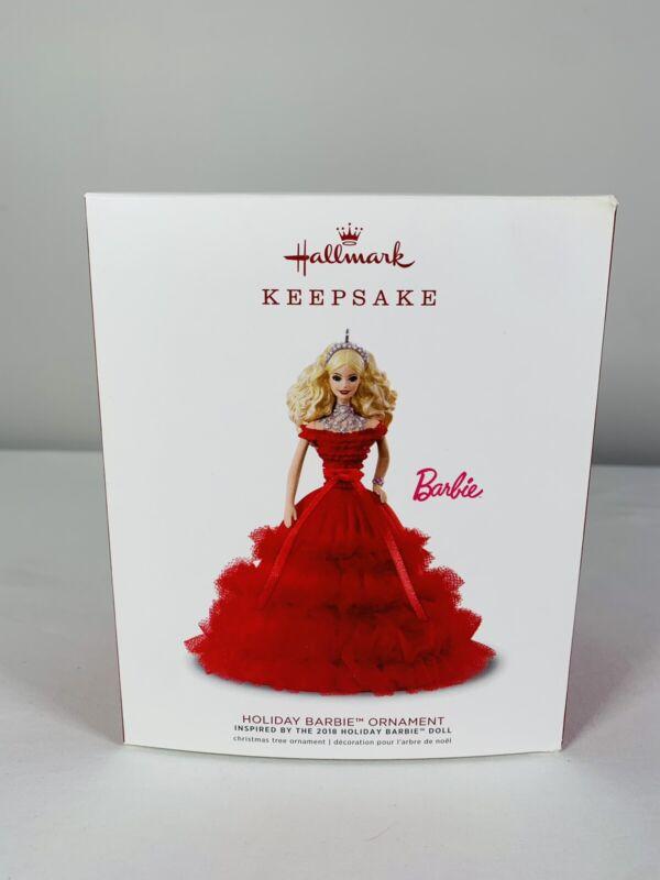 Hallmark Keepsake Holiday Barbie Doll 2018 Red Dress Christmas Tree Ornament