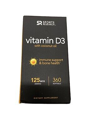 Sports Research Vitamin D3 Coconut Oil Immune Support Bone Health 125 MCG 360Gel Immune Support Wellness Oil