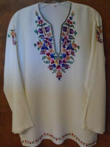 Vtg Embroidered Tunic Shirt Top Floral Unworn Hippie Boho Ethnic 70