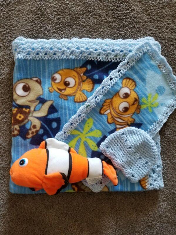 Baby Blanket Crochet Trim- Nemo print w/cap,burp cloth and fish