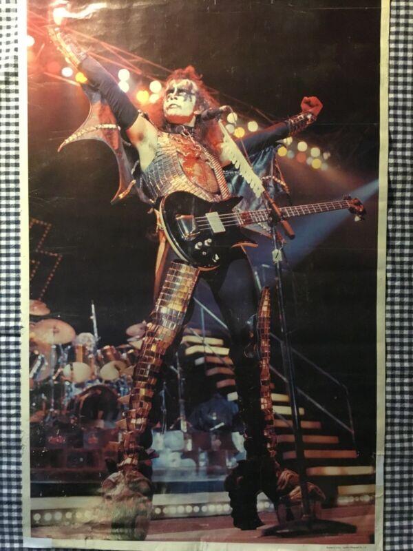 KISS Poster Vintage 1977 Gene Simmons ORIGINAL Aucoin. Ships FREE