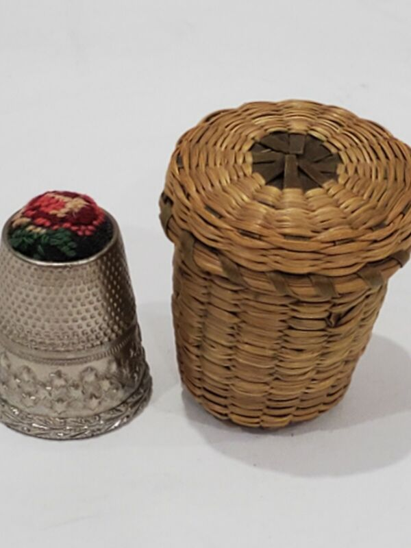 Vintage Thimble Holder Straw Basket and Thimble with Petit Point