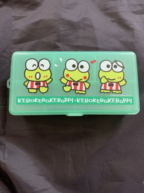 Sanrio Vintage Keroppi Green Rectangular Pencil Plastic Case 1991 Trinket Plush