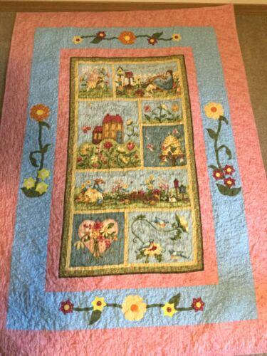 Handmade Quilt, Garden with Honeybee, Bird, and Flowers