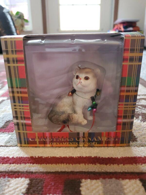 Sandicast Exotic Shorthair Calico Cat Porcelain Christmas Ornament