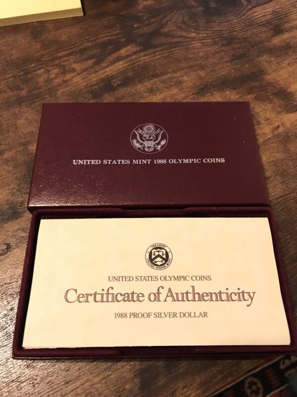 United States Mint 1988-S Olympic Coin Silver Dollar Proof Set w/ Box & COA