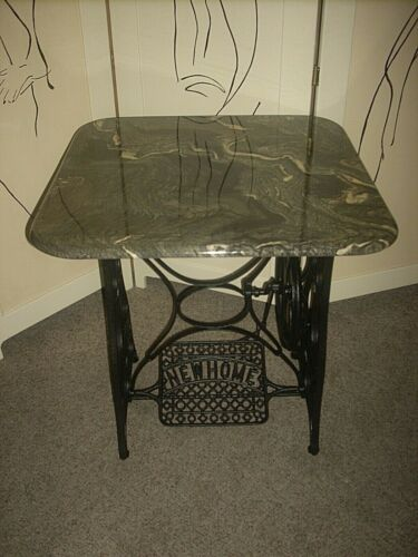 ANTIQUE NEW HOME CAST IRON TREADLE SEWING MACHINE BASE W/ MARBLE TABLE TOP