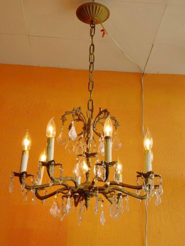 Vintage 8 lights Ornate Spanish Brass Chandelier , lots of prisms..