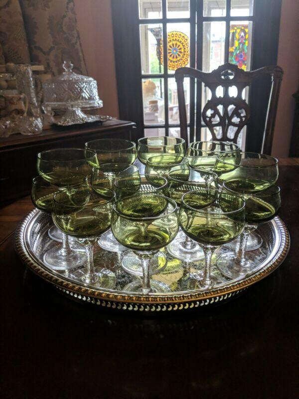 Sasaki CORONATION DARK GREEN Champagne Coupes  Nick and Nora/liquor cocktails