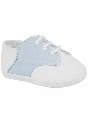 Boys Saddle Shoes (Baby Deer Boys Blue White Broadcloth Saddle Oxford Crib Shoes 00-3)