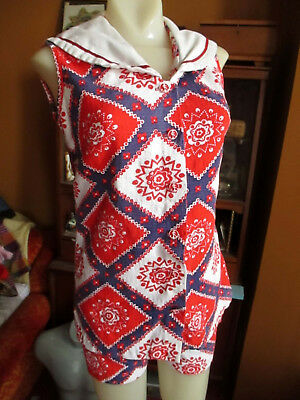 SMALL True Vtg 60s MODE O DAY SAILOR GIRL MOD 2 Piece Outfit Top & Shorts  - 60s Mod Outfits
