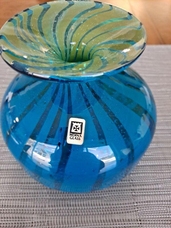 Mdina Blue Green Striped Glass Vase Ming Pattern 1970s