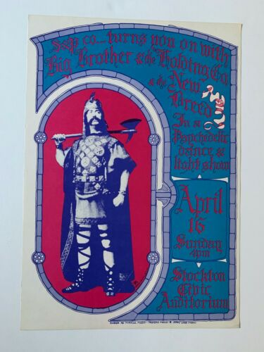 Big Brother and the Holding Company Original Concert Poster Stockton Auditorium