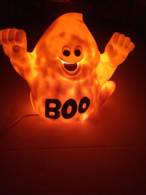 Blow Mold Vintage Halloween Ghost Boo Light Up Cool Decoration Cute