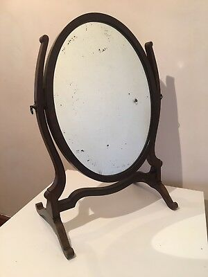 Early 20th Century Victorian Mahagony Oval Toilet Make Up Mirrors Antiques