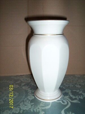 "Large Gold Trimmed Footed Vase, 9 1/4"" Tall, Marked"