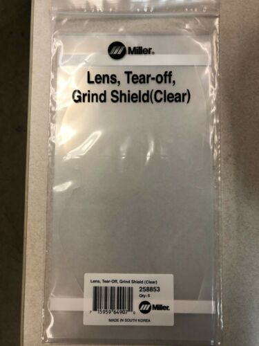 Genuine Miller 258853 T94i Grinding Shield Clear Welding Lens Tear Off Offs 5 pk