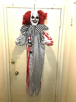 Halloween prop ANIMATED, HANGING KILLER CLOWN PROP. Super creepy prop. SHAKES.