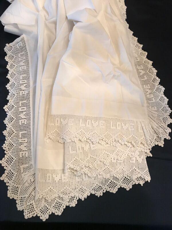 "Antique Victorian Wedding White Hand Crochet Lace Flat Sheet LOVE Motif 89""x101"""