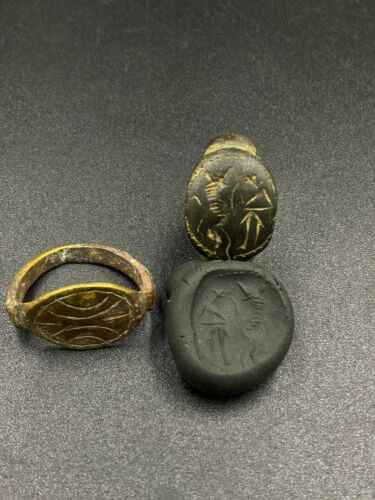 Lot Antique Jewelry Bronze Rings Engraved Intaglio Stamp Ancient Sasanian Empire