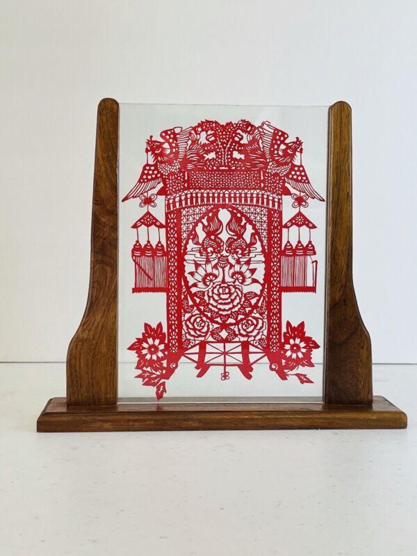 Noble Phoenix Chinese Red Lantern Handmade Papercut Frame with Base