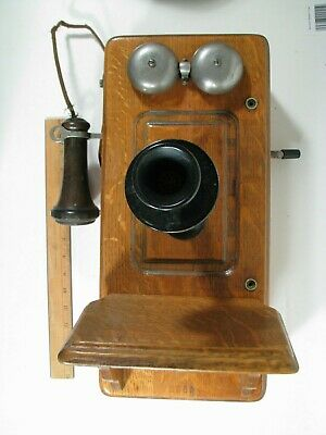 Antique Kellogg Oak Wall Phone