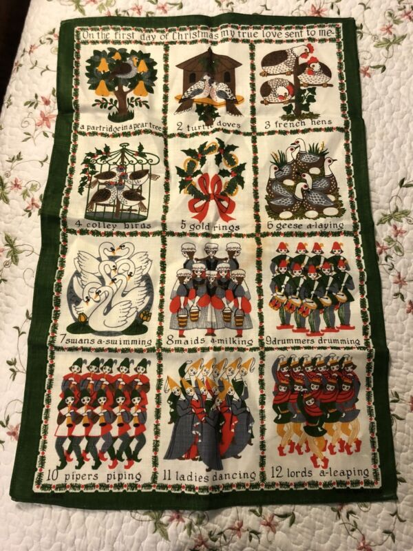 12 DAYS OF CHRISTMAS VINTAGE TABLECLOTH OBlong LINEN Runner Cover 41X29