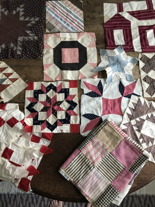 Lot of Antique Quilt Blocks - Hand Stitched